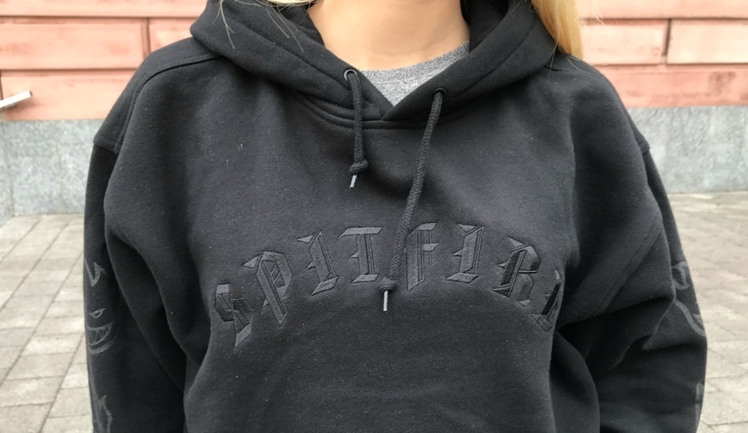 f94c0fbdb Old E Embroidered hoodie is darker than the night. With its black on black  old English embroidery on the chest and dark grey screen printing on  sleeves you ...