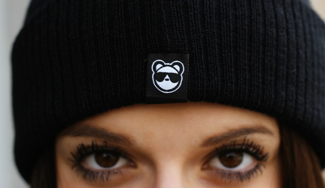 Bear Swagger – Black Patch Bobble Beanie